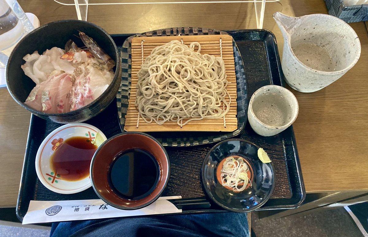 test ツイッターメディア - 【池袋 そば うどん. ならや】さんにて 限定 『しまあじ、車海老(小)、まだい、まだこの  海鮮丼と  10割在来種のせいろ  写楽 純米酒』 作る迄生きてた活魚を使った海鮮丼😍 車海老動いてる🦐 日本酒写楽で極上海鮮丼とお蕎麦を満喫😊 https://t.co/8XfGpFgPDd