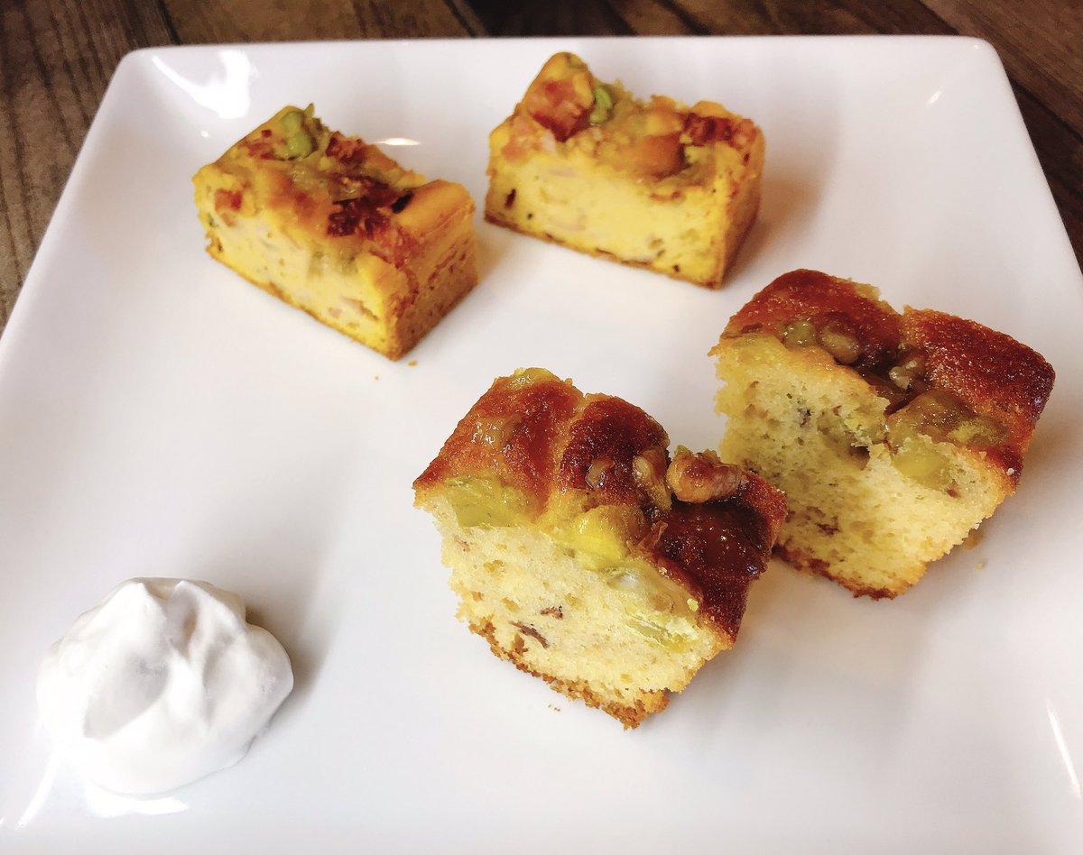 test ツイッターメディア - 今週のパウンドケーキ。 ○発酵パウンド 〜熊澤酒造天青の酒粕で作った〜 横浜産ぼろたん栗🌰のパウンドケーキ ○おかずパウンド ベーコンとローズマリー香るオニオンと枝豆のおかずパウンド ヨーグルトケーキは、いちご味🍓  桃のシャーベットはあと2つで終わり^_^  お食事の後のお口直しに是非 https://t.co/4IpzeFOUkT