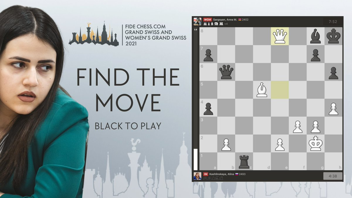 test Twitter Media - White gave up a rook believing she is about to give mate. However, WGM Anna Sargsyan had seen deeper...  Can you spot the winning sequence? #GrandSwiss2021 https://t.co/TMh9vfG0Wp