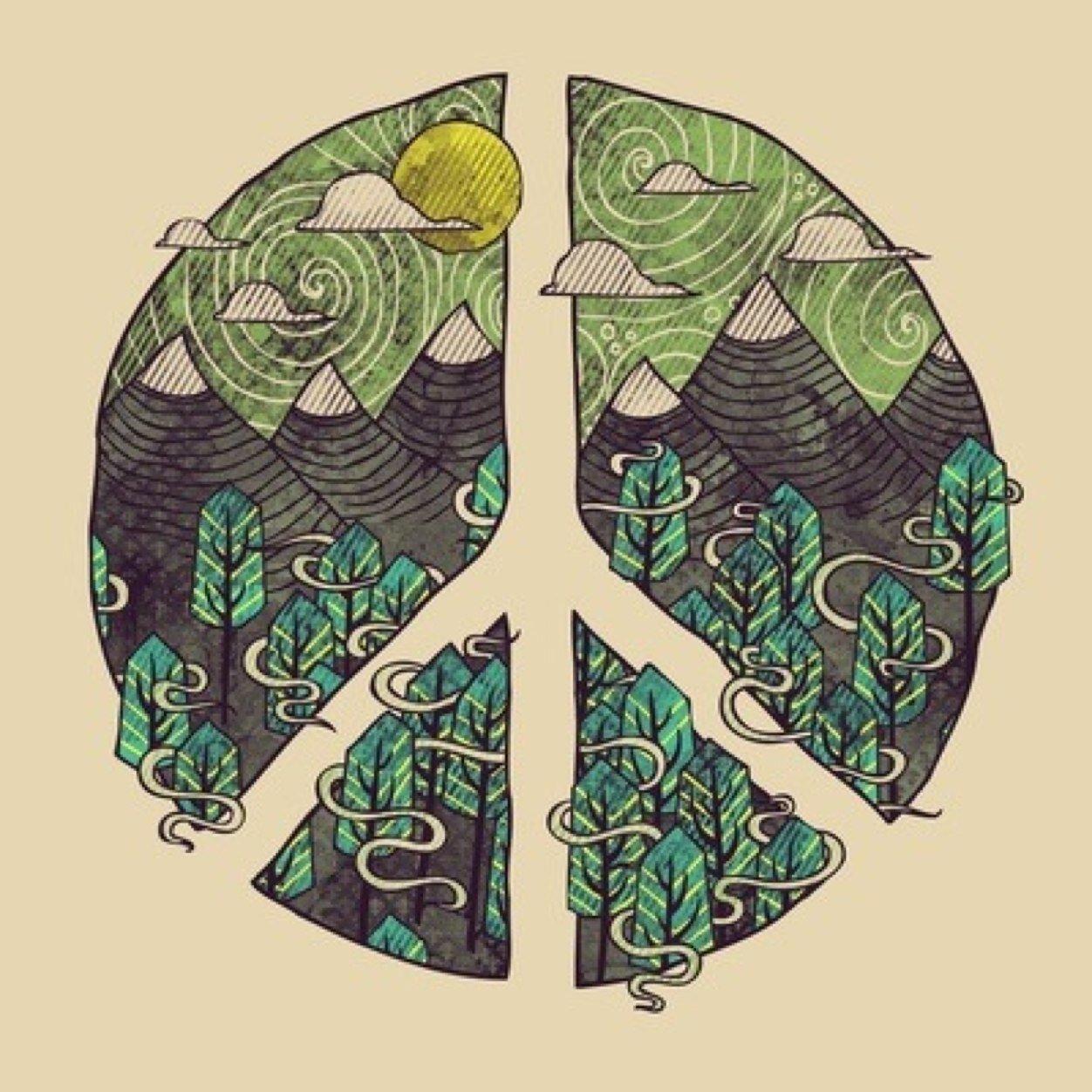 Знак мира во всем мире тату