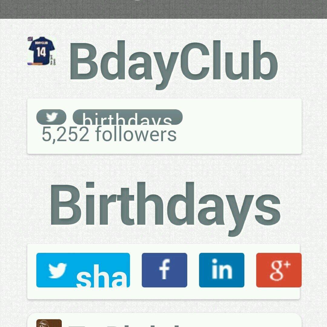 BdayClub Social Profile