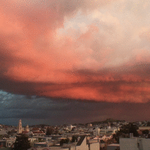 Red clouds and lightning over San Francisco tonight http://t.co/TefAhninVF http://t.co/j1KyTfMsUq