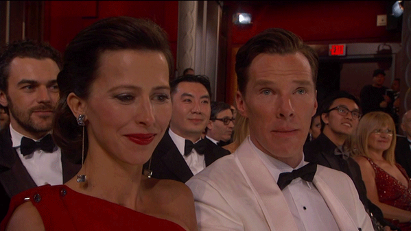 Benedict Cumberbatch sees you. #Oscars http://t.co/fwtYZemKh2