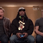Marshawn Lynch and Rob Gronkowski played video games with Conan and it was incredible http://t.co/OSn9BIJHw7 http://t.co/d6XLpeuJh5