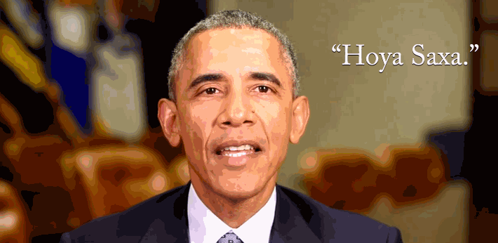 That time President @BarackObama said #HoyaSaxa to celebrate @Georgetown's bicentennial, now in GIF format: http://t.co/v0HJX6ou4V
