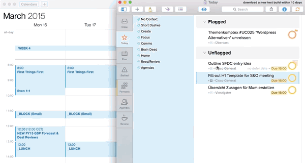In @OmniFocus you can simply drag and drop a task on to the Mac OS X calendar to schedule time for it. http://t.co/QeG0wFUdd0