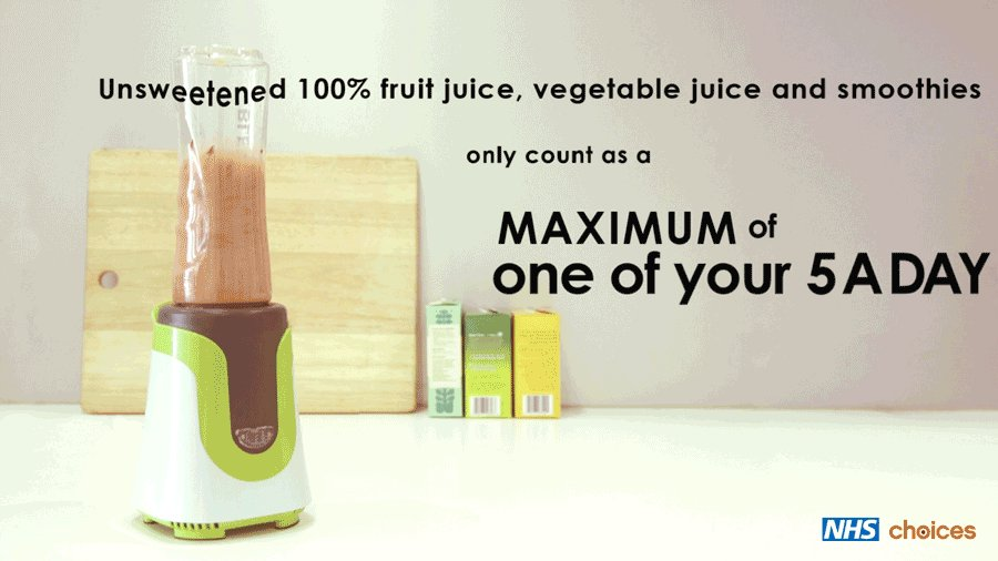 Juices and smoothies can only ever count as a maximum of one of your 5 A DAY. Find out more: https://t.co/dTzcttPwip