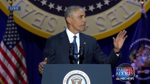 Crowd at Obama Farewell Address chants, '4 more years! 4 more years!'  Pres. Obama: 'I can't do that.'