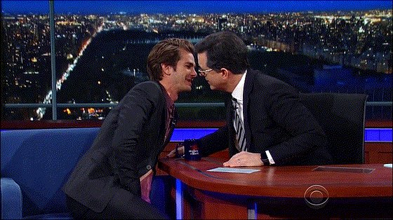 Andrew Garfield and Stephen Colbert share a tender moment.. https://t.co/rHewJYQH9E
