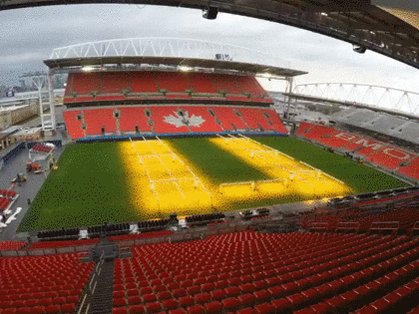 Timelapse: BMO Field transformed for three sports over 36 days From @Globe_Sports