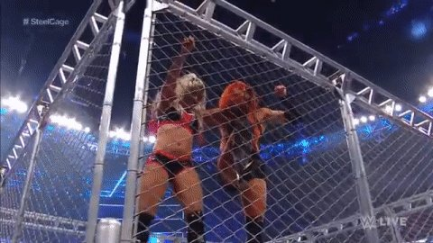 """THAT is a LONG WAY DOWN!"" - @JCLayfield#SteelCage #SDLive @BeckyLynchWWE @AlexaBliss_WWE"
