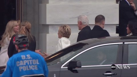 .@HillaryClinton, @BillClinton arrives at Pres.-elect Donald Trump's #inauguration https://t.co/aemExNNIyt