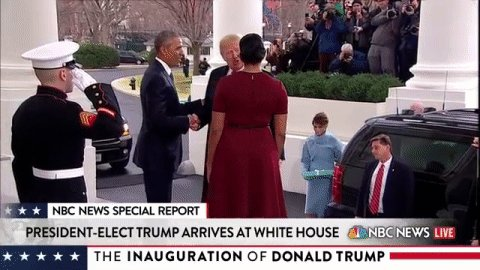 The president and the First Lady greet the president-elect and the incoming First Lady at the White House.