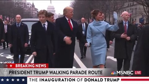 Pres. Trump and the First Lady get out of the presidential limousine and walk the #Inauguration Parade route.