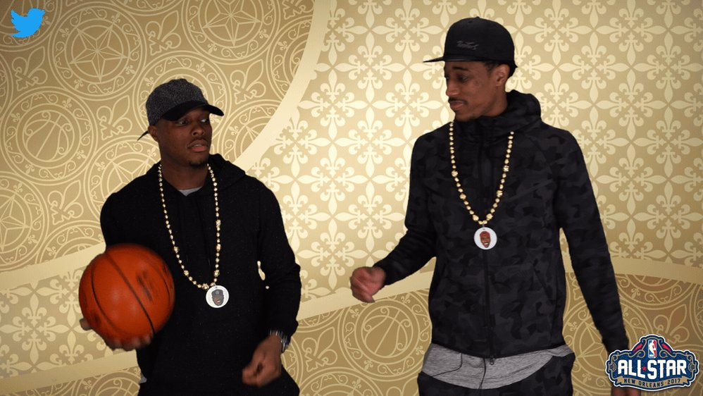 Throw me the rock @Klow7. 🏀 #WeTheNorth #DeMarDeRozan #KyleLowry #NBAAllStar