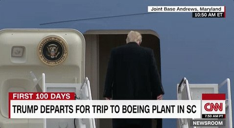 President Trump boards Air Force One for a trip to Boeing's newest plant in South Carolina