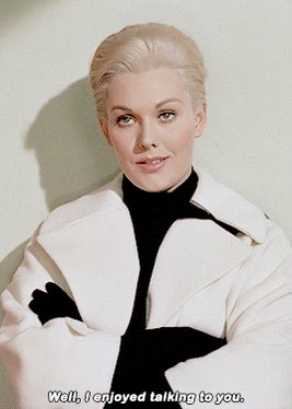 Happy birthday Kim Novak.  Filmography with Hitchcock: Vertigo (1958) cast: Madeleine Elster/Judy Barton