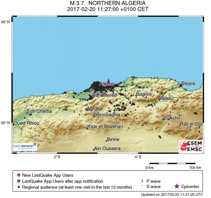 Les points représentent la localisation des utilisateurs lancant l'app LastQuake, les cercles les ondes sismiques!