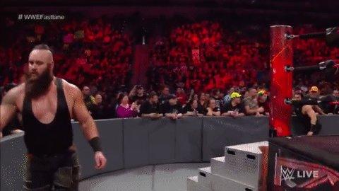 SUPERMAN PUNCH! The brawl is UNDERWAY between @BraunStrowman and @WWERomanReigns! #RAW #WWEFastlane