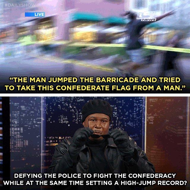 "A Black Lives Matter protester in Charleston, SC reaches ""peak blackness."""