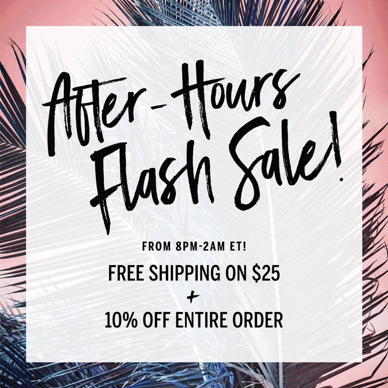 TONIGHT! Free Shipping on $25 + 10% Off from 8pm-2am. Because, Flash Sale. https://t.co/vD3AqOdgIz https://t.co/1Vtn6q437l