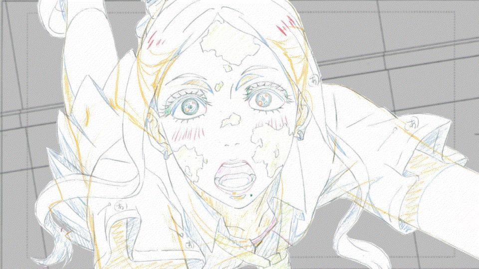 【原画】第11話「メメント・モリ」より原画をもう一つ掲載です。CUT261「涙と笑顔を見せるマユ」。最終話「スーサイド・
