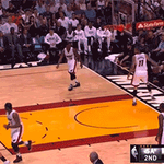 GIF: Rio closes the 1st half with a shot from WAYYYYYYYYYYY downtown! http://t.co/dr8UWUKnRl