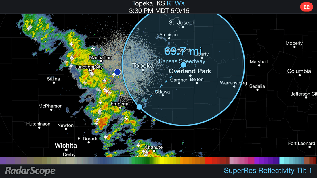 Follow up w/ @RaceWeather tweet. Storms 70 mi away est. ETA 1.5-2hrs #NASCAR @kansasspeedway http://t.co/AqjSnoQ02Q