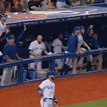 Blue Jays dugout going crazy dot GIF. http://t.co/l9fhuBQEMs