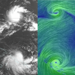 Visualisation of twin TCs: #TCRaquel (south) and #ChanHom (north). Thanks: http://t.co/KtRe1ZQ046 and JMA http://t.co/M6K0KwnAEq