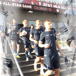 The players head out to warm up. Were in our blue away strip. #MLSAllStar #COYS http://t.co/XNtvUD1twT