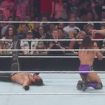 FOOT ON THE ROPE saves @WWERollins Title!! #RAW @WWENeville #RedArrow http://t.co/ql8sqSlcDY