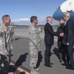 WATCH:Secretary of State John Kerry greeted Sunday evening after landing in Alaska http://t.co/QTgWjxh1cC http://t.co/1qHC1jbkWL
