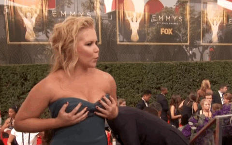 The one GIF that sums up Amy Schumer when she hits a fancy event. #Emmys http://t.co/Bu5w193wQa