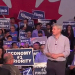 Protester charges at Stephen Harper during turbulent campaign rally. http://t.co/JJh2ItxVo0 http://t.co/Dfvz2bSUaH