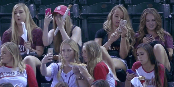 Stop what you're doing and watch this video of teens taking selfies at a baseball game http://t.co/sZrf1bxViT http://t.co/kK7nYx2Nsf