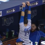 Jose Bautista using the dugout at Tropicana Field like a set of monkey bars http://t.co/VEp43XWtut #BlueJays http://t.co/yMLlDKL1mx