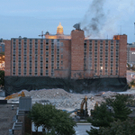 YMCA Implosion in downtown Des Moines Sunday morning #dmregister #YMCAimplosion #implosion #desmoines http://t.co/NJpuszjQOr
