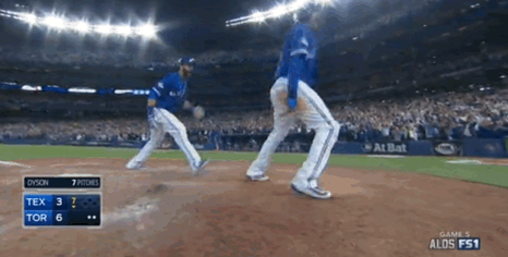 BAUTISTA HOMER, 6–3 JAYS. THIS GAME. http://t.co/aaD78d71YO