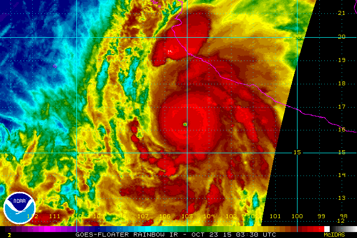 Here is animated GIF of Hurricane Patricia - max winds 200 mph - using the GOES Rainbow IR Floater https://t.co/djmcH6Fdm6