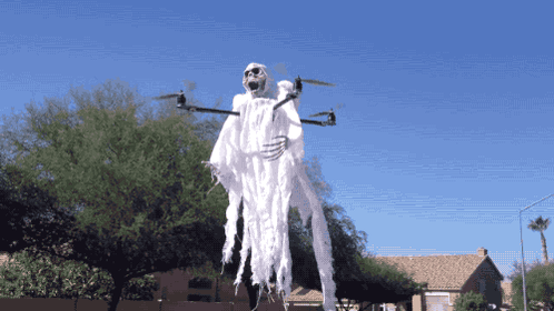 What's scarier: the skeleton coming at you or that this is a drone? #HappyHalloween via @gifsboom https://t.co/Wt3tWDZefj