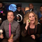 """Jimmy, @Adele & @TheRoots perform """"Hello"""" with classroom instruments! https://t.co/PBfh3q5cBN https://t.co/SjDHowKHOH"""