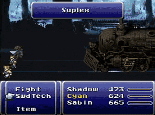 and now for no reason at all, here's a train suplex #FF6 https://t.co/327YqrpROs