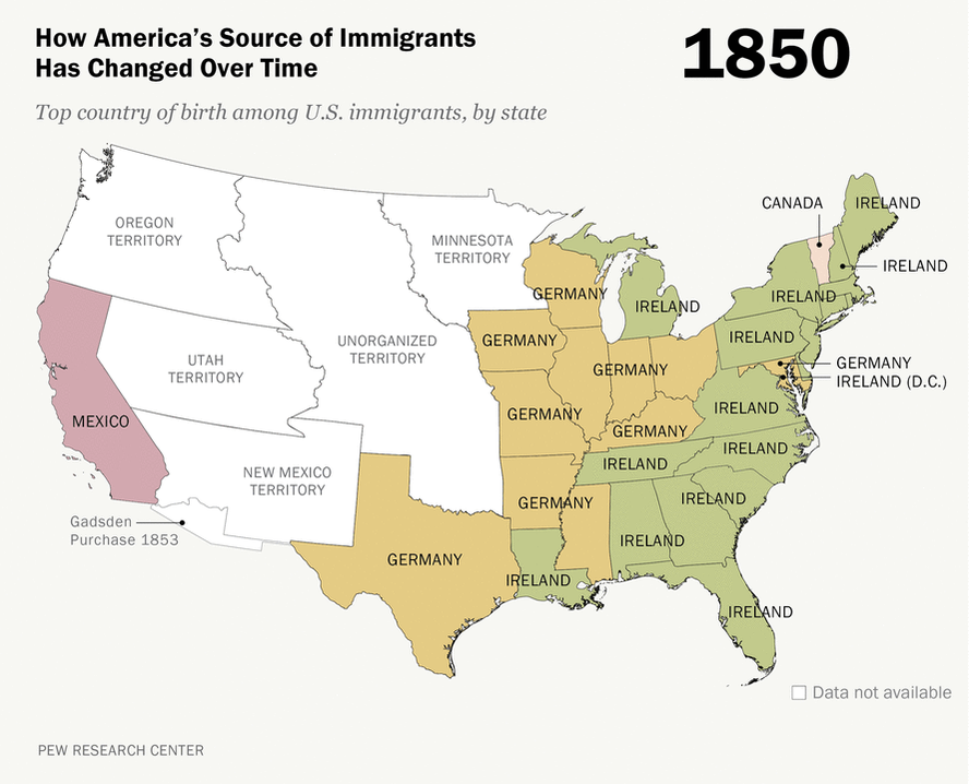 How America's Source of Immigrants Has Changed in the States, 1850 - 2013 https://t.co/MqDGXcXZtr https://t.co/MDBWW0ZBSw