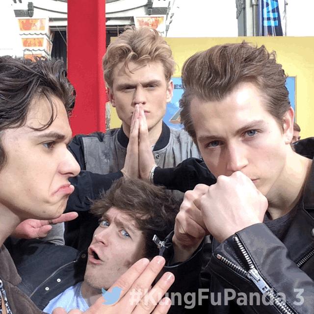 .@TheVampsband striking a pose at the  #KungFuPanda 3 premiere! https://t.co/gqFLDwXjDZ