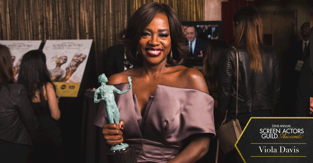 A quick moment with the lovely @violadavis backstage after receiving her SAG Award!