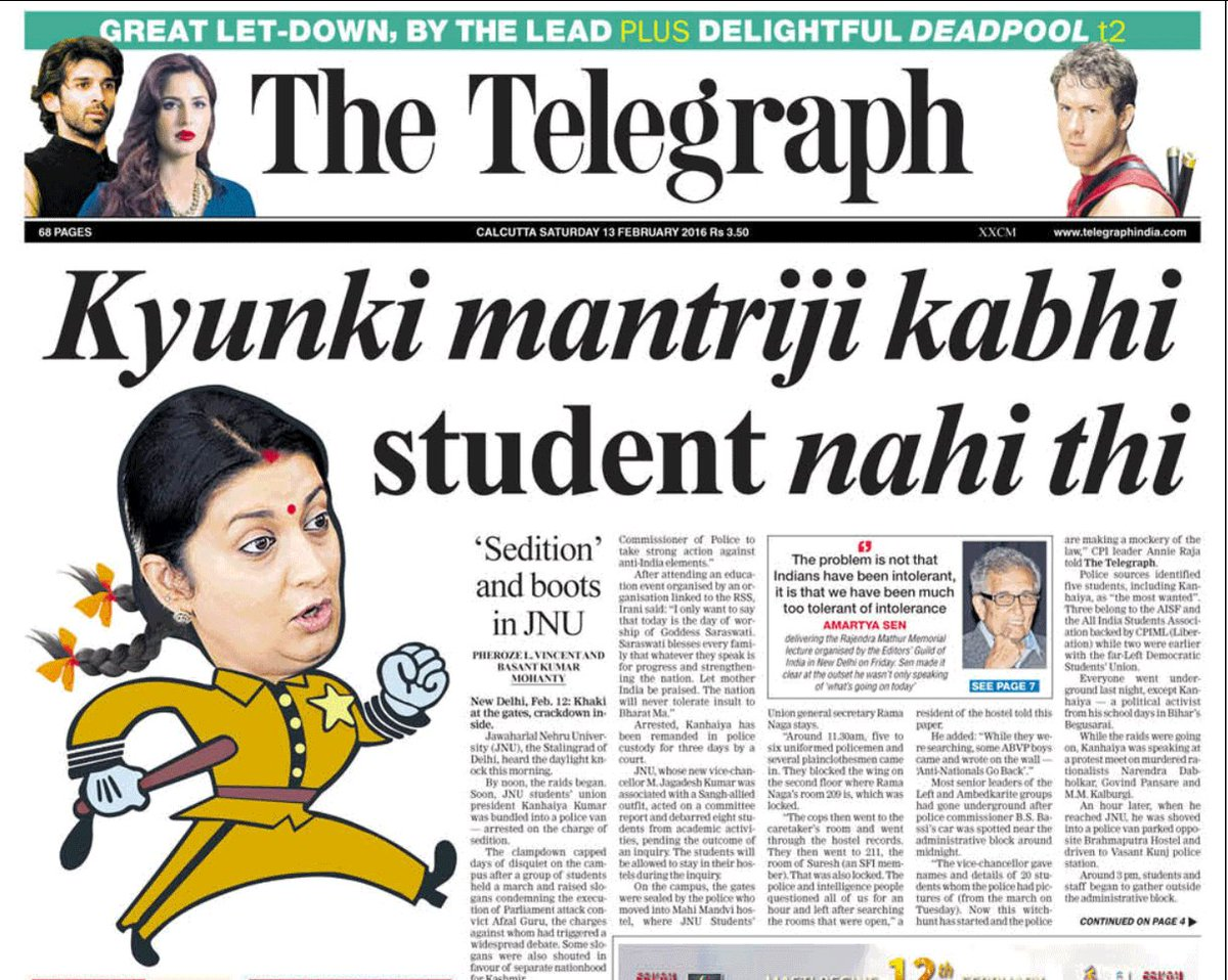 The Telegraph: Front page headlines over the last four days. Unputdownable indeed,  @ttindia! https://t.co/kxc445pjQR