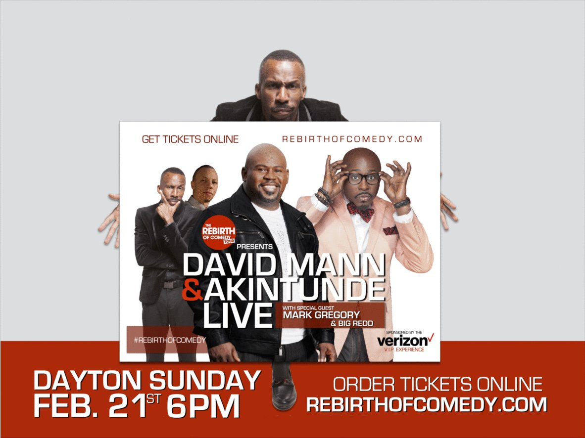 DAYTON! RETWEET & ENTER WIN TICKETS TO SEE @comicmarkgreg @meetmrbrown @officialbigredd SUN FEB. 21 #REBIRTHOFCOMEDY https://t.co/lOWSdaZr9l