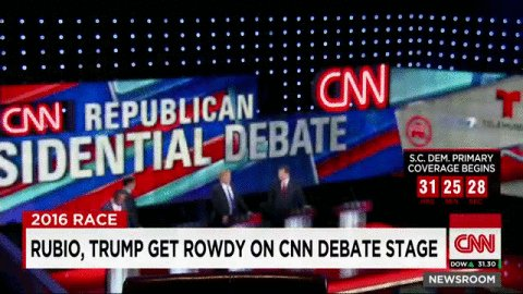 During a commercial break at the #GOPDebate, Marco Rubio and Ted Cruz shake hands behind Donald Trump's back. https://t.co/3LhikmNcXM