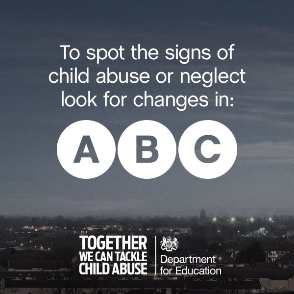We've all got a role to play to protect children from abuse. Do you know how to spot the signs? #tackleabusetogether https://t.co/98gKkdjzqR